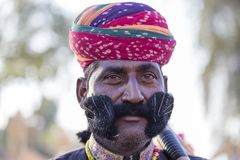 Portrait men wearing traditional Rajasthani dress participate in Mr. Desert contest as part of Desert Festival in Jaisalmer, Rajas Stock Image