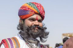 Portrait men wearing traditional Rajasthani dress participate in Mr. Desert contest as part of Desert Festival in Jaisalmer, Rajas Stock Photos