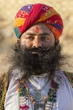 Portrait men wearing traditional Rajasthani dress participate in Mr. Desert contest as part of Desert Festival in Jaisalmer, Rajas Stock Photography