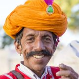 Portrait men wearing traditional Rajasthani dress participate in Mr. Desert contest as part of Desert Festival in Jaisalmer, Rajas Stock Images