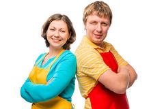 Portrait of men and women ready in cleaning the in a house Royalty Free Stock Photography