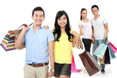 Happy couple with shopping bag Royalty Free Stock Photos