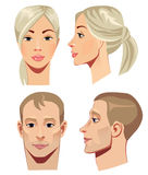 Portrait of men and women in straight and profile Stock Image
