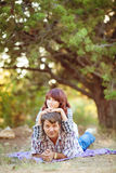 Portrait of men and women in summer park Royalty Free Stock Photography