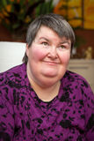 Portrait of a mentally disabled woman Royalty Free Stock Photo