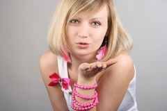 Portrait of merry pretty glamourous girl Stock Photography