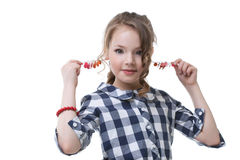 Portrait of merry stylish girl posing at camera Royalty Free Stock Images