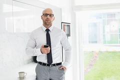 Portrait of mid adult businessman holding smart phone at home Stock Images