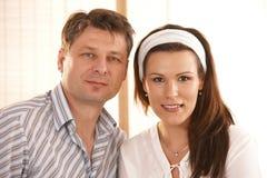 Portrait of caucasian couple. Portrait of mid-adult caucasian couple stock photos