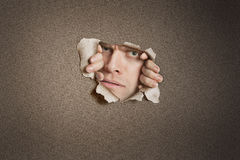 Portrait of a mid adult Caucasian man peeking from ripped white paper hole Royalty Free Stock Image