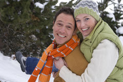 Portrait of mid adult couple in winter setting Stock Photography