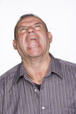 Portrait of Mid Adult Male Screaming. Isolated. Stock Photography