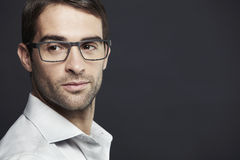 Portrait of mid adult man wearing glasses Royalty Free Stock Image