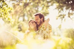 Portrait of middle age couple at nature. Enjoy in spring season. Beauty in nature stock photos