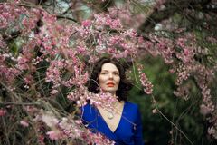 Portrait of a middle-aged brunette in a blue dress next to a cherry blossom stock photo