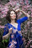 Portrait of a middle-aged brunette in a blue dress next to a cherry blossom royalty free stock photography