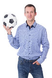 Portrait of middle aged businessman with soccer ball isolated on Royalty Free Stock Photo