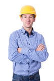 Portrait of middle aged handsome business man in yellow builder' Royalty Free Stock Images