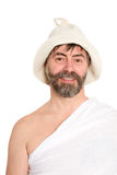 Portrait of middle-aged man dressed in traditional bath Stock Photography