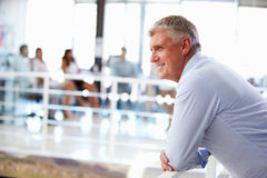 Portrait of middle aged man in office, side view Royalty Free Stock Images