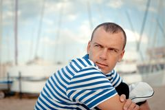 Portrait of Middle-aged sailor Stock Photo