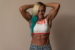 Portrait Of A Middle Aged Woman Bodybuilder Royalty Free Stock Photos