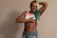 Portrait Of A Middle Aged Woman Bodybuilder Royalty Free Stock Image
