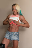 Portrait Of A Middle Aged Woman Bodybuilder Stock Image
