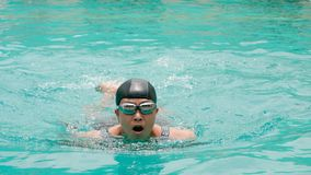 Portrait middle-aged women exercise by swimming Stock Photo
