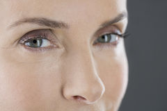A portrait of a middle-aged woman's face and eyes Royalty Free Stock Images