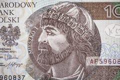 Portrait of Mieszko I on 10 polish zloty Stock Photos