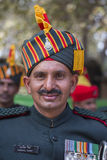 Portrait of military men take part in rehearsal activities for the upcoming India Republic Day parade. New Delhi, India. NEW DELHI, INDIA - JANUARY 23, 2017 Stock Photography