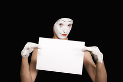 Portrait of  mime on  black background Royalty Free Stock Image