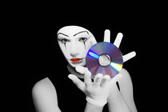 Portrait of  mime with cd Stock Photo