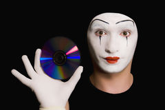 Portrait of  mime with cd Stock Photos