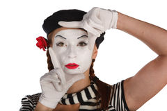 Portrait of a mime comedian Stock Photos