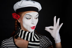 Portrait of a mime girl Stock Image