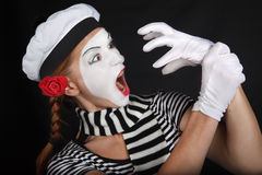 Portrait of a mime girl Royalty Free Stock Photo