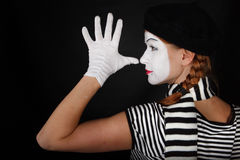 Portrait of a mime girl Stock Images
