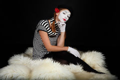 Portrait of a mime girl Stock Photography