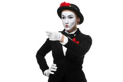 Portrait of mime with pointing finger. Portrait of the mime with pointing finger isolated on white background. concept of choice Stock Images
