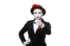 Portrait of mime with pointing finger. Portrait of the mime with pointing finger isolated on white background. concept of choice Stock Photos
