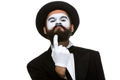 Portrait of mime with pointing finger Royalty Free Stock Images
