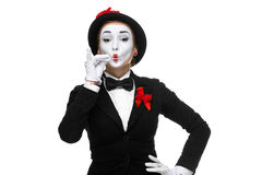Portrait of the mime representing something very Royalty Free Stock Photography