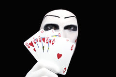 Portrait of the mime with Royal Flush stock photo