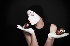Portrait of the mime with toy birds Stock Photos