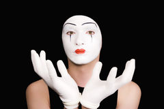 Portrait of  mime in white gloves Stock Image