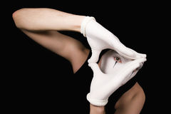 Portrait of  mime in white gloves Royalty Free Stock Image