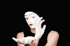Portrait of  mime in white gloves Royalty Free Stock Images