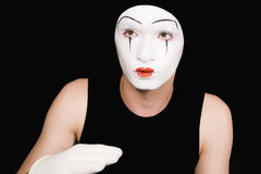 Portrait of  mime in white gloves Stock Photography